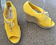 Atmosphere Yellow Open Toe Open Side Wedge Heel Lace Up Sandals Size 5 SB8