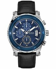 NWT GUESS BLUE DIAL BLACK ANIMAL SCALE LEATHER STRAP CHRONOGRAPH WATCH U0673G4