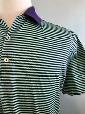 Peter Millar Green & Purple Striped SS Golf Polo Shirt Men's Medium 100% Cotton