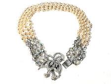 Bijou alliage argenté collier 4 rangs de perles fantaisies et strass necklace