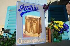 Original Vintage 1930's Itonia Gramophones H/Painted Advertising Sign PRE ENAMEL