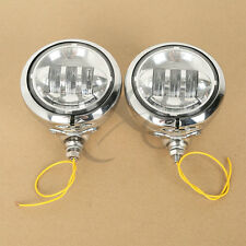 """Pair 4-1/2"""" LED Fog Passing Light & Housing Bucket For Harley Electra Glide Dyna"""