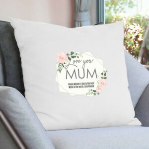 Personalised Floral Rose Cream Cushion Cover Mum Nana Mothers Day Mummy Gift