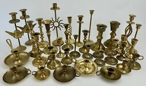 Vtg Lot of 37 Mixed Metal Brass Candlestick Holder Wedding Candle Patina Ornate