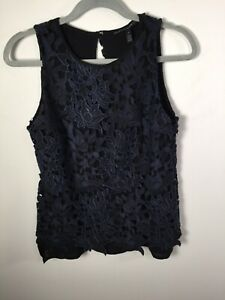 White House black market womens navy blue floral lace sleeveless top aus 6-8