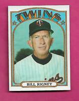 1972 TOPPS # 389 TWINS BILL RIGNEY MANAGER NRMT+  CARD (INV# A9186)