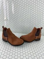 Steve Madden 'GILTE' Brown Leather Round Toe Pull On Ankle Boots Women's Size 6M