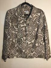 Croft&Barrow - Beige & Brown Floral Full Zipper Jean Style Jacket  Size XL