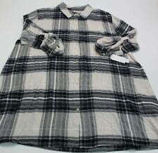 Donna Karan PLAID Button Sleepshirt Pajama 3X POCKETS DKNY
