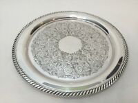 """Vintage WM. A. Rogers Round Silverplate Tray, 12 1/4"""" Diameter x 3/4"""" High"""