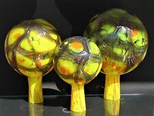 Rosenkugel 3 er -  Set aus Glas ø 12/15/ 18 cm.Gelb mit orangenen Flecken.