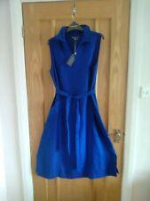 Laura Ashley 12 iconic, pure linen belted sleeveless midi in santorini blue BNWT