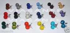 2 Orecchini da Donna Colorati Shamballa 10mm Sfera Cristallo Brillante Eleganti