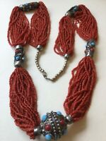 """Natural Red Coral 20-Strand Seed Bead Necklace w/Metal Decorative Beads,34""""L"""
