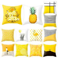 Yellow Geometric Cushion Cover Throw Waist Pillow Case Home Sofa Decor 18 inch