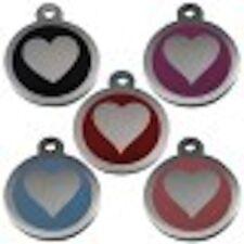 Acero Inoxidable Corazón Etiqueta De Mascota 32mm Varios Colores By Melian