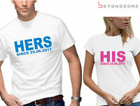 HIS & HERS PERSONALISED JUST MARRIED T-SHIRT TSHIRT SET MENS WOMENS WEDDING GIFT
