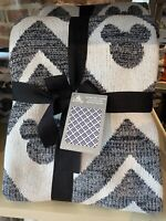 """Disney Parks Mickey Mouse Ears Geometric Knit Throw Blanket 60"""" x 72"""" Cotton NEW"""