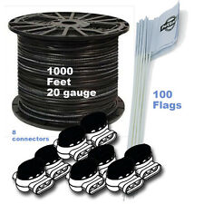 DOG FENCE 1000 FT 20 Ga BOUNDARY WIRE 100 FLAGS 8 CONNECTORS KIT