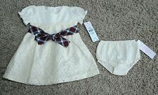 NWT Chaps by Ralph Lauren Infant 9 MONTHS Dress CREAM Lace PARTY / WEDDING $34