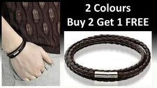 UNISEX BLACK BROWN LEATHER INTERLACED WRISTBAND BRACELET BRAIDED MULTILAYER