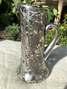 Antique Alvin Sterling Silver 999/1000 Overlay Crystal Decanter Pitcher - Grapes