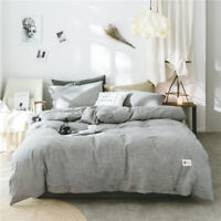 Bedding set 4pcs Cotton & Linen duvet cover flat sheet 2 pillowcases Super cozy