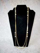 "Necklace Faux Round Pearls on GoldTone Herringbone Chain 42"" Fashion Jewelry"