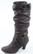New Women's Fashion Dress  Low Heel Zipper Mid Calf Knee High Boots Size 5 - 10
