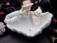 Antique Hard Paste Porcelain Fairing Shell Trinket Dish with Boy & Dog. German?