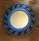 """BALI WAVE MIRROR 12"""" Hand Carved & Painted NEW Blue"""