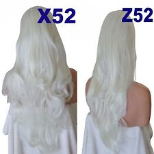 WHITE BLONDE Long Curly Wavy Flick Half Wig Womens Hair Piece 3/4 fall wig