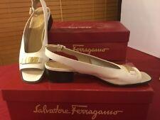 Salvatore Ferragamo Clapet Women White Pump Shoes Size 7AA with box D85