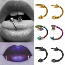 6Pcs Multicolor Stainless Steel Spiral Tongue Ring Stud Body Piercing Jewelry