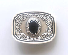 Nature Black Onyx Stone Western Cowboy Cowgirl Silver Plated Belt Buckle