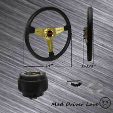 "FOR 1990-1993 HONDA ACCORD GOLD 14"" PVC LEATHER RACE STEERING WHEEL+HUB ADAPTER"