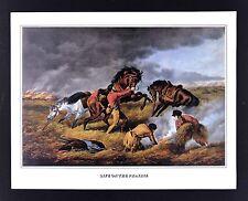 Currier & Ives Print - Life on the Prairie - Fire Break Buffalo Hunters  Vintage