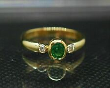 1.50 Ct Oval Emerald Diamond Bezel Set 14K Yellow Gold GP Ladies Engagement Ring