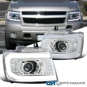 For 2007-2013 Avalanche Suburban Tahoe Clear Projector Headlights Head Lamps LED