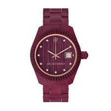 AB AETERNO Tramonto 100% Madera Amaranto Cuarzo Swiss Made Swarovski Reloj Mujer