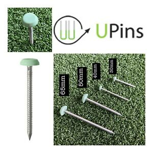 Plastic Headed Green Artificial Grass Nails Pins Securing to Wood & Decking etc