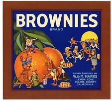 BROWNIES Brand, Palmer Cox, Tulare County ***AN ORIGINAL ORANGE CRATE LABEL***