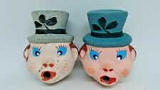 More details for pair of small vintage terracotta leprechaun heads. unusual items.