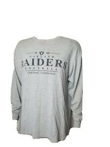 Vintage Oakland Raiders Long Sleeve Tee Shirt Gray Spellout Made in USA Logo 7