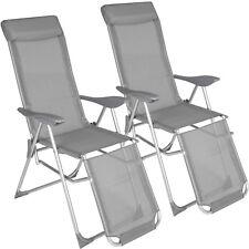Conjunto de 2 sillas de aluminio múltiples posiciones jardín terraza plegable