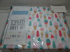New # Bedtime ICE CREAM Brushed Microfiber Twin Sheet Set ~ Multi Colors NIP