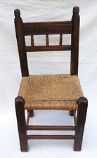 Antique Spanish Fan Engraved Wood Braided Rush Seat Chair Early 18th C