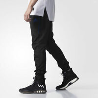 Adidas Men Athletic Basketball Foundation Jogger Zipper Pants Black Blue BQ5331
