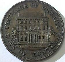 1844 Canada 1/2 penny token coin, PC-1B4 BR-527, short trees long nose