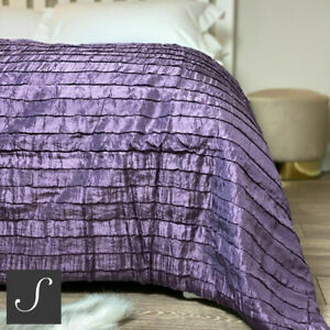 Luxury Shimmering Purple Damson Bed End / Sofa Throw Bedspread Large Ruffled